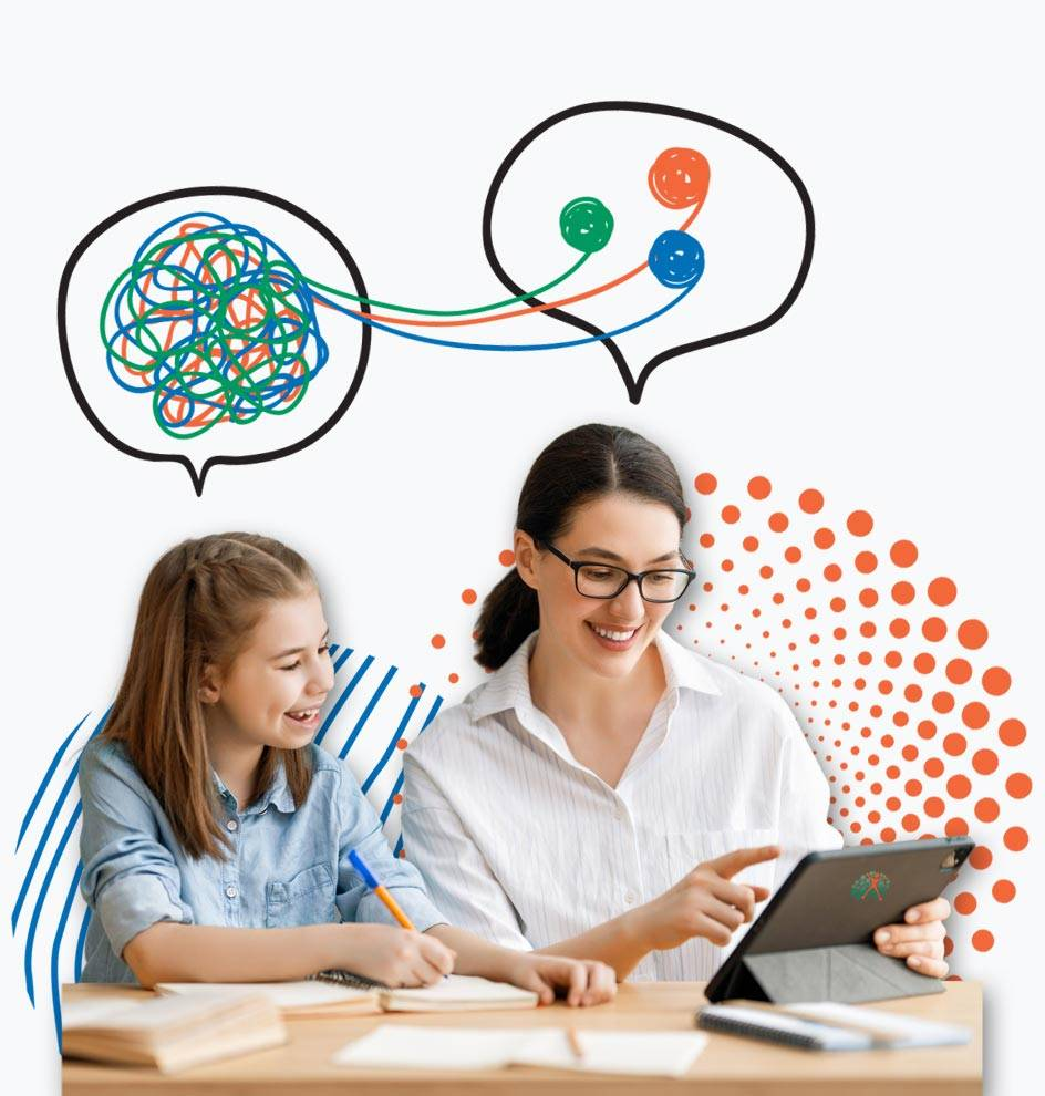 Teen girl and education coach solving problems together