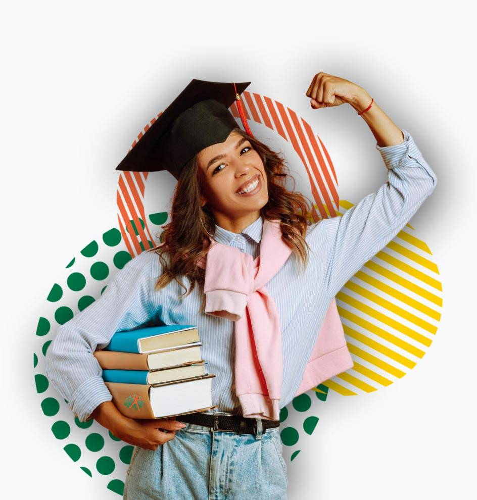 Teenager wearing a mortarboard, holding books and flexing muscle in excitement