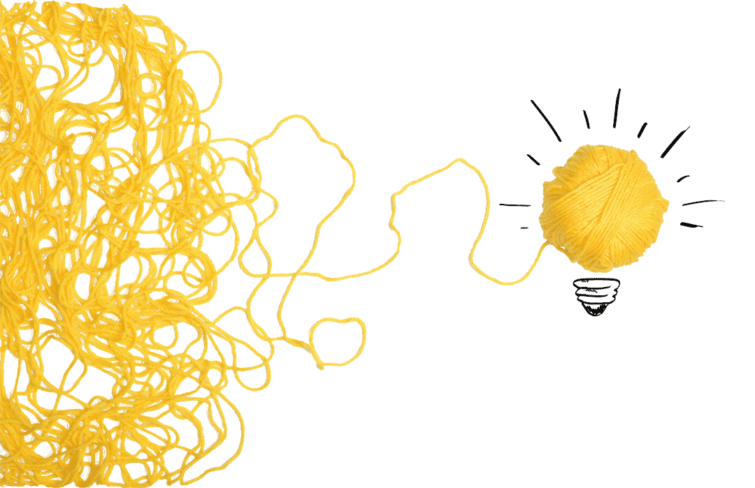 Concept string of yarn forming a light bulb